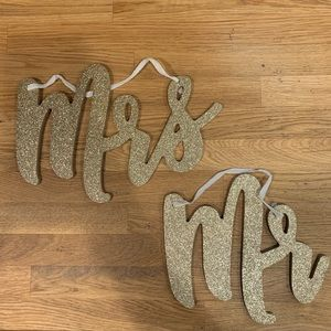 Mr and Mrs Gold Glitter Wedding Decor Signs